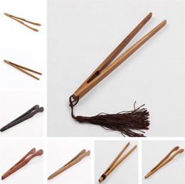tea clip Canada - Natural Bamboo Tea Clip Handmade Tea Tweezer Chinese Wooden Kongfu Tea Tools Multifunction Bacon Salad Sugar Food Toast Tongs