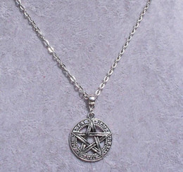 wiccan jewelry NZ - Star Pentagram Necklace Pendant Vintage Silver Medal Wiccan Witch Collar Choker Chain & Leather Necklaces Fashion Jewelry Women Accessories