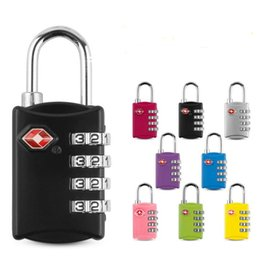 tsa padlocks wholesale Canada - TSA Security Code Luggage Locks 4 Digit Combination Steel Keyed Padlock Approved Travel Lock for Suitcases Baggage Door Hardware 8colors