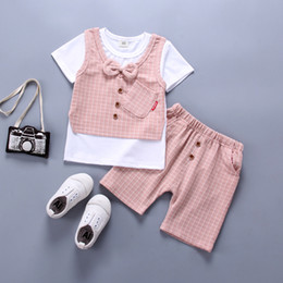 Prussian Clothing Australia - 2019 baby clothing kids clothes Infant BoysChildren's wear 2019 summer new style Medium and small children 1-2-3-4 years old male baby short