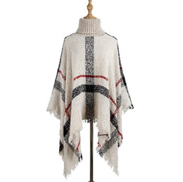 Wholesale women cape shawls for sale - Group buy Tassel Cloak Shawl Colors Women Sweater High Collar Knitted Pullover Poncho Cape Loose Scarf Shawls L LJJO7205