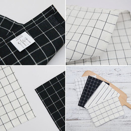 White Cotton Napkins Australia - 2pcs New pure cotton black and white plaid tea towel, wine cup towel, table mat European style cloth napkin cloth