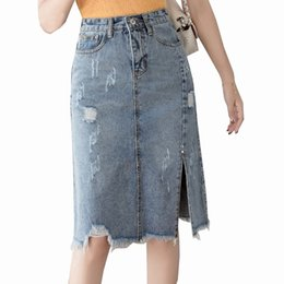 654bdf317 2019 New Spring Summer Hole Split Denim Skirts Women Solid Color High Waist Pencil  Skirt All Match Long Saia Plus Size Faldas
