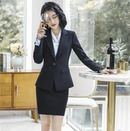 $enCountryForm.capitalKeyWord Australia - Formal Ladies Black Blazer Women Business Suits with Skirt and and Jacket Sets Work Wear Office Uniform Style OL