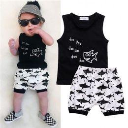 $enCountryForm.capitalKeyWord Australia - 2018 new baby shark cartoon clothing arrival stamp fashion hot sleeveless T-shirt and high waisted shorts for summer wear Y190515