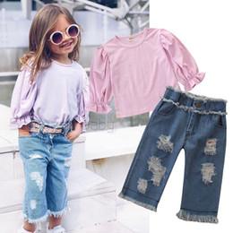 $enCountryForm.capitalKeyWord Australia - Fashion Kids outfits girls falbala sleeve blouse+double pocket hole tassel jeans 2pcs sets 2019 autumn new baby girl clothes F8536