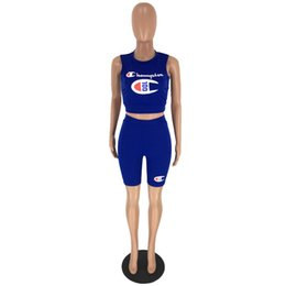 Race Sexy Clothes UK - 2020 women clothing fashion sexy women's Letter printing 100th Anniversary Vest + shorts Suit Jogging clothes Yoga Wear