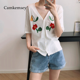 $enCountryForm.capitalKeyWord Australia - Women Blouses Shirts 2019 Fashion Floral Embroidery Casual V-Neck Short Sleeve White Black Summer Blouses T5190604