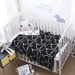 baby girl crib bedding sets 2020 - Baby Crib Bedding Knitted Girls Blankets Cotton Fashiona Ins Room Decorations Milk Bottle Boys Bedding Set Toddler Blank