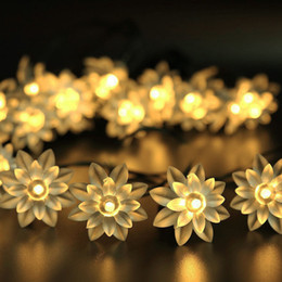 $enCountryForm.capitalKeyWord Australia - Solar Powered Double-deck Lotus Flower LED String Lamp Waterproof Courtyard Wedding Christmas Party Decorative String Lights