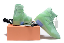 fabric frosted UK - 2019 Air Fear Of God 1 Frosted Spruce Green Basketball shoes Orange fog Running Sports Casual Fashion Sneakers High Quality