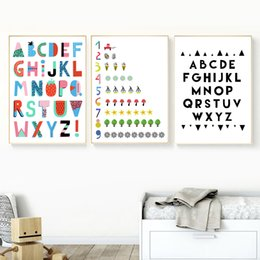 kids canvas wall art Australia - Scandinavian Creative Alphabet Numbers Wall Art Canvas Painting Nordic Posters And Prints Wall Pictures Kids Room Nursery Decor