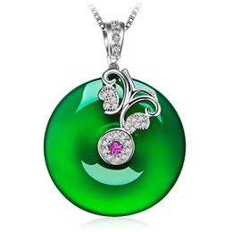 Sweet Valentine Gifts Australia - D457 Emerald Green pendant Japanese and Korean cute sweet retro silver buckle necklace jewelry Valentine Day gift