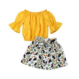 $enCountryForm.capitalKeyWord Australia - 2pcs Baby's Set Summer Fashion Off Shoulder Elastic T Shirts Top Cartoon Printed A-line Skirts Baby Girl Outfits Kids Clothing