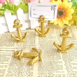Gold Wedding Card Holders Australia - Gold Nautical Anchor Place Card Holder Golden Table Card Holder Wedding Party Table Decoration Favors W9576