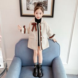 Bow Briefs online shopping - Lady style Girls woolen plaid trench cota kids lapel Pearl buckle long outwear children Bow thicken warm coat Colors