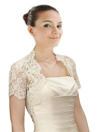 $enCountryForm.capitalKeyWord UK - Delicate Lace Champagne Short Sleeves Wedding Bridal Jackets White and Ivory High Quality Shipping Wedding Wrap For Wedding Dress Gowns Pl