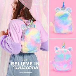 12 Inch Girl Backpack Australia - Bentoy Laser Hologram Backpacks Velvet Soft Rainbow Backbag Pink Sweet Girls Daughter Gifts 12 Inch Backpack Unicorns Backpack Y19051701