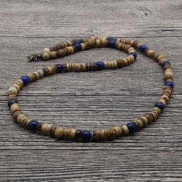 Toptan satış 2018 Vintage Tribal Takı Erkekler Boncuklu Kolye Lapis Lazuli Hindistan Cevizi Kabuğu Kolye Erkekler Için Erkekler Için En Iyi Arkadaşı Hediye AU-01