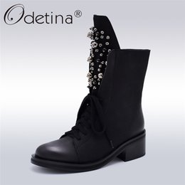 $enCountryForm.capitalKeyWord Australia - Odetina Fashion Brand Winter Mid Calf Boots Women Round Toe Square High Heel Russia Snow Boots Lace Up String Bead Warm Shoes