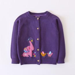 Knit Baby Jacket NZ - Girls Coat Warm Kids Girl Knit Cardigan Cartoon Elephant Toddlers Girl Sweater Jacket Outerwear Children Clothing Baby Girl Tops