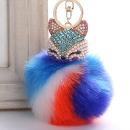 $enCountryForm.capitalKeyWord Australia - Creative hang fox head pendant pendant key chain super rabbit hair ball plush bag set auger alloy pendant