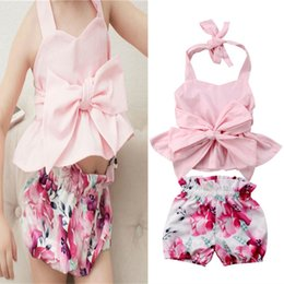 Floral two piece short set online shopping - Baby Girl Clothes Summer Sleeveless Backless T shirt Shorts Two piece Set Bow Strap Tank Tops Big Floral Print Shorts Kids Clothing A41803