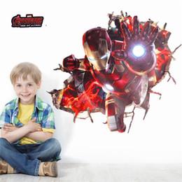 $enCountryForm.capitalKeyWord Australia - 3d Effect Iron Man Hero Through Wall Stickers For Kids Rooms Nursery Wall Art Decals Decor The Avengers Wallpaper Diy Poster
