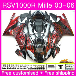 $enCountryForm.capitalKeyWord NZ - Body For Aprilia RSV1000R Mille RSV1000 R RR 03 04 05 06 Bodywork 38HM.13 RSV1000RR RSV 1000 2003 2004 2005 2006 03 06 Fairing Red flames