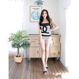 6fa478f6e0c Women Stripe Bikini One Piece Conservative Skinny Swimming Suit Sexy Black  White Breast Care Triangle Swimwear Hot Sale 23jbD1