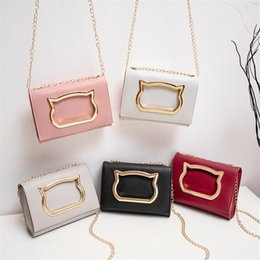 cats phone NZ - Cute Cat Shoulder Bag PU Leather Chain Crossbody Bags For Women Fashion Small Square Package Messenger Bag Mobile Phone