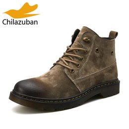 $enCountryForm.capitalKeyWord Australia - Chilazuban Men Real Leather Ankle Boots Lace Up Work Shoes Men British Style Flats Short Boots Classic Mens Footwear Size 39-44