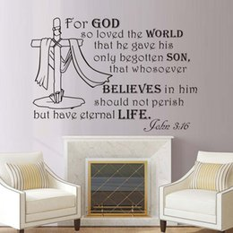 Bathroom Wall Sticker Quotes Australia - 1 Pcs For God So Loved The World Text Wall Sticker Living Room Removable Art Religion Quotes Stickers Home Decor Cross Wall Decals