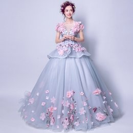 Wedding Dresses Flowered Embroidery Australia - 2018 NEW DESIGN BLUE EMBROIDERY TAILING BACKLESS BALL GOWN FLOOR LENGTH WEDDING DRESS WITH HANDE MADE FLOWERS