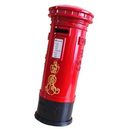 Wholesale mailboxes for sale - Group buy Metal Britain London Street Red Mailbox Piggy Bank Postbox Money Box