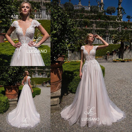 Short White Dress Plunging Neckline Australia - New Arrival Graceful Lace Bridal Wedding Gowns Lace Bodice Cap Sleeves Backless Applique Plunge Neckline Bridal Dresses