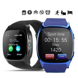 Bluetooth Smart Watch Sim Australia - T8 Bluetooth Smart Pedometer Watches Support SIM &TF Card With Camera Sync Call Message Men Women Smartwatch Watch