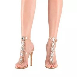 sexy super star 2019 - Star Style Sexy Ethnic Luxury Gemstone Crystal Sandals Sparkle Diamond Transparent High heel Sandals Women Fashion Sanda