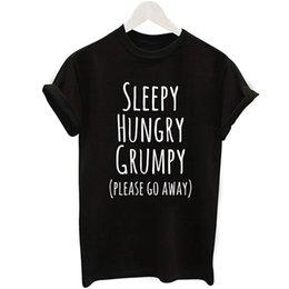 Großhandel 2019 sommer Tops Mode T Frauen SLLEEPY Brief Drucken Harajuku T-shirt Weiß Schwarz Weibliches T-shirt Camisas Tees Damen T-shirt Schwarz SIEBEN