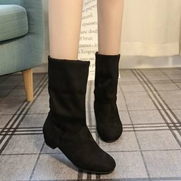 81ed5e7f790 Autumn Winter Woman Shoes Fashion Suede Mid Calf Boots Women Black Round Toe  Low Heels Boots Ladies Botas Mujer Chaussures Femme