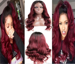 $enCountryForm.capitalKeyWord Australia - Swiss Lace Front Lace Wig Indian Virgin Human Hair Black Root Two Tone Ombre Burgundy 1B 99J Full Lace Wig For Black Woman
