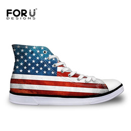 c6c6f352ab70 FORUDESIGNS US Flags Print Men s Canvas Shoes Cool Retro Classic Vulcanized  Shoe High Top Flat For Boys Man Zapatos Vulcanizados  152988