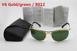 $enCountryForm.capitalKeyWord Australia - 1pcs High Quality UV Protection Sport Sunglasses For Men Designer Brand Sun Glasses Gold Frame Green 62mm Glass Lenses With Box And Case