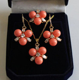 $enCountryForm.capitalKeyWord Australia - Hot sale new Style 8MM Coral South sea Shell Pearl Beads  Earrings Ring   Necklace Pendant Set