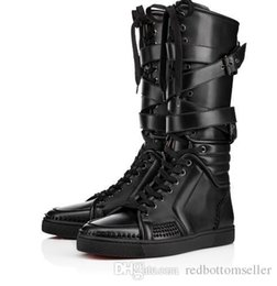 Genuine Leather Items NZ - 2018New Items!Mens black genuine leather sports boots cool man flat red bottom Sporty Dude Flat zipper with nails,buckle knee boots for man