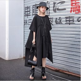 Plus Size Irregular Hem Dress NZ - New 2019 Women Solid Black Long Asymmetrical Dress Short Sleeve Plus Size Irregular hem Female Stylish Loose Dress Casual Robe Style