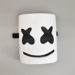 Chinese  Electric Syllable DJ Marshmello Mask PVC White Color Full Face Adult Halloween Cosplay Masks Bar Music Props 8rh E1 manufacturers