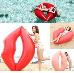 Kids Inflatables For Pools NZ - 180*160CM lips Giant Inflatable Floats Tubes Pool swimming Toy Ride-On Pool Red pink lips Swim Ring for Water sports D0464