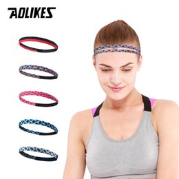 Wholesale AOLIKES Weave Elastic Yoga Sweatband For Women Men Running Hair Bands Fitness Sweat Bands Sport Silicone antiskid Headband