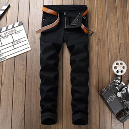 $enCountryForm.capitalKeyWord Australia - New Arrival Zipper Fly Black Casual Full Length Jeans Pants Men Fashion Hip Hop Punk Rock Straight Denim Pants High Quality